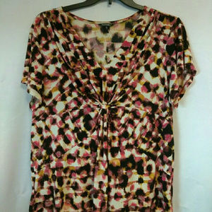 4/$20 Daisy Fuentes Woman 1X shirt pink multicolor